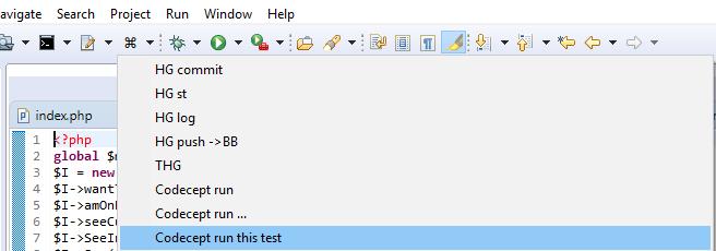 Вызов консоли cmd.exe из Eclipse (например, для HG или Codeception)